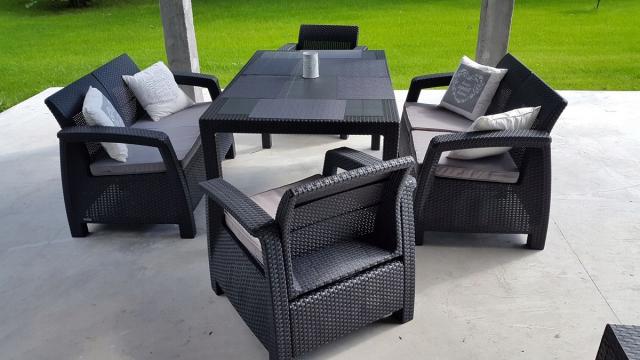 Обеденный комплект мебели Corfu Fiesta антрацит (Keter - Израиль)