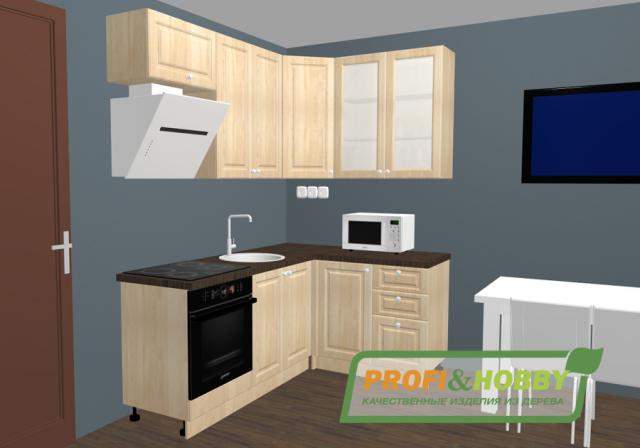 Кухня 2х1,4х2,32м, массив сосны, эмаль