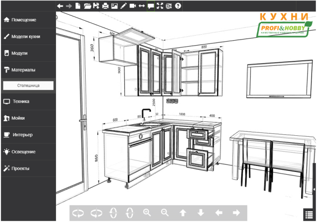 Кухня 2х1,4х2,32м, массив сосны, без покраски