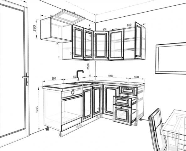 Кухня (2х1,4х2,14м), массив сосны, бесцветный лак