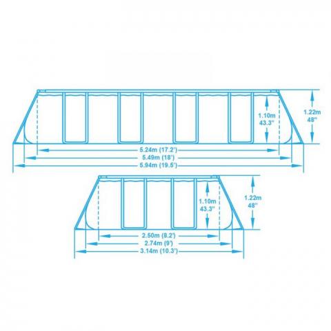 Каркасный прямоугольный бассейн 56465 BW (549х274х122см)